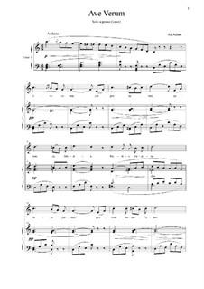 Ave verum: Für Stimme und Klavier by Adolphe Adam