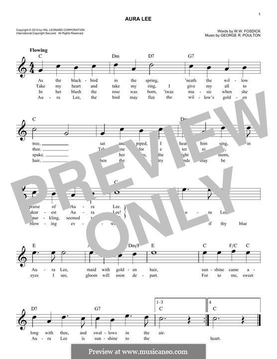 Aura Lee: Melodische Linie by George R. Poulton