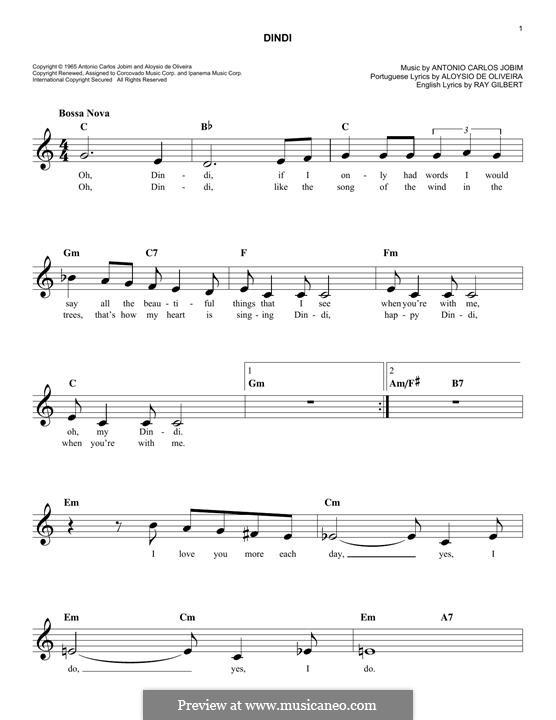 Dindi: Melodische Linie by Antonio Carlos Jobim