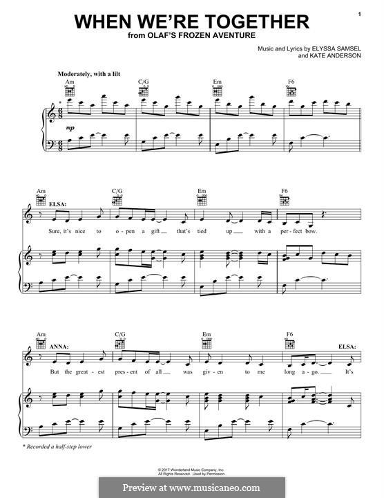 When We're Together: Für Stimme und Klavier (oder Gitarre) by Kate Anderson, Elyssa Samsel