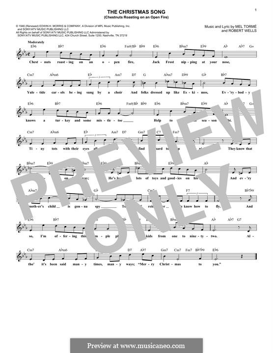 Piano-vocal version: Melodische Linie by Mel Tormé, Robert Wells
