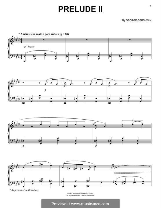 Drei Präludien für Klavier: Prelude No.2 in C Sharp Minor by George Gershwin
