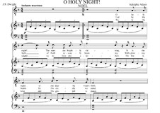 O hehre Nacht: For contralto or countertenor (F Major) with piano singalong by Adolphe Adam