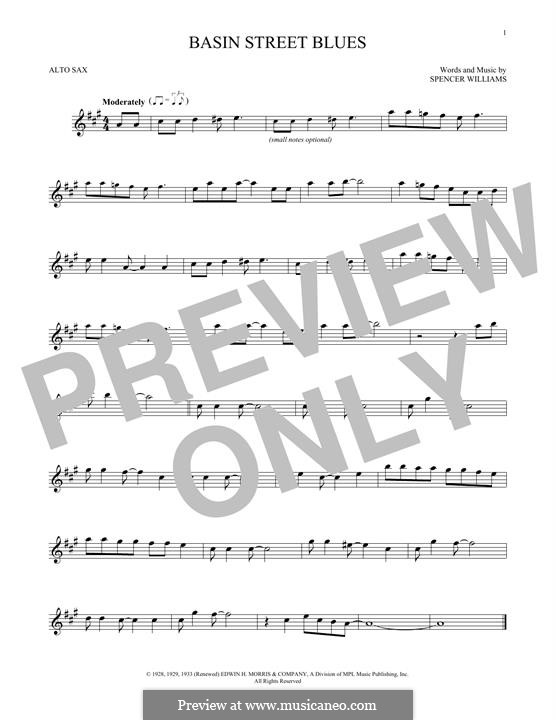 Basin Street Blues (Louis Armstrong): Für Altsaxophon by Spencer Williams