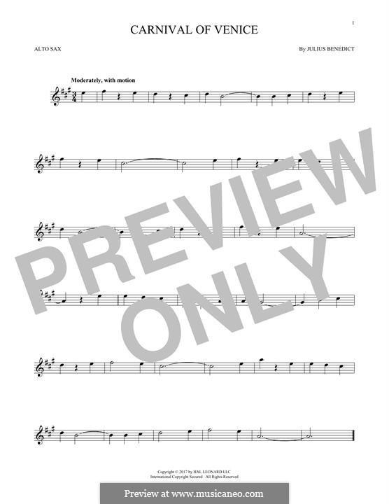 Carnival of Venice: Für Altsaxophon by Julius Benedict