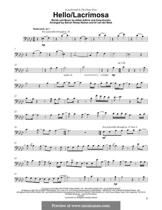 Hello/Lacrimosa (The Piano Guys): Für Cello by Adele, Greg Kurstin
