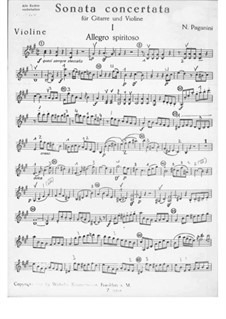 Konzert-Sonata für Gitarre und Violine: Violinstimme by Niccolò Paganini