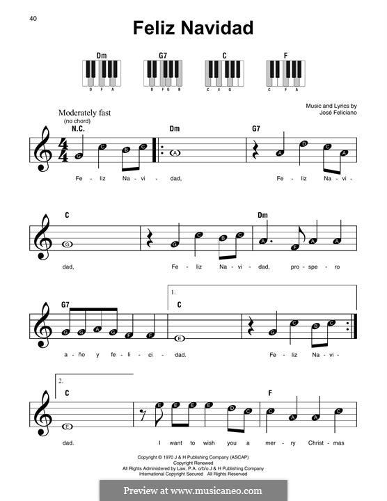 Feliz Navidad: For easy piano (melody line) by José Feliciano