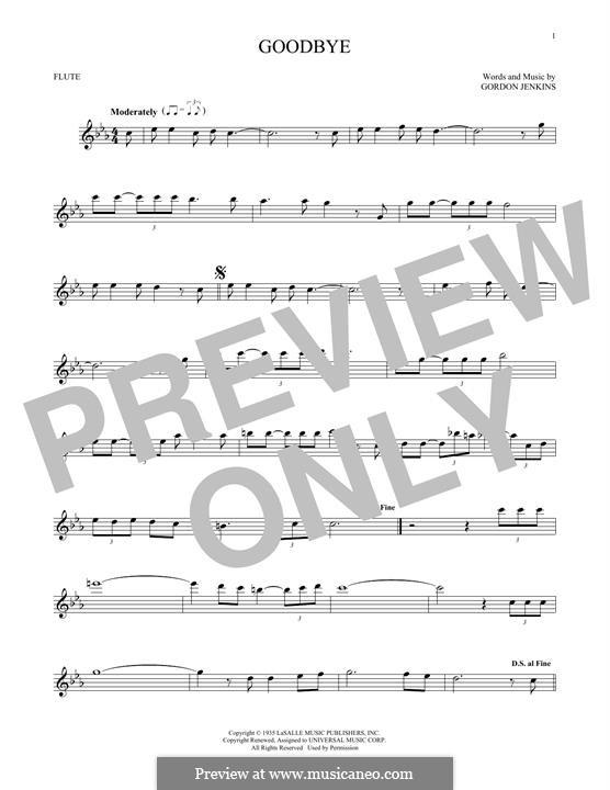 Goodbye (Bill Evans): Für Flöte by Gordon Jenkins
