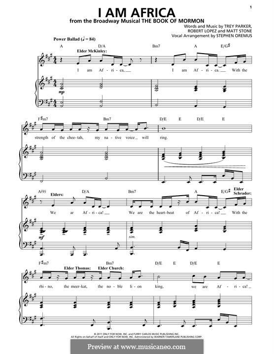I am Africa (from The Book of Mormon): Für Stimme und Klavier by Robert Lopez, Trey Parker, Matt Stone