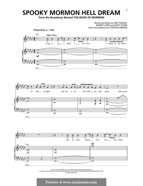 Spooky Mormon Hell Dream (from The Book of Mormon): Für Stimme und Klavier by Robert Lopez, Trey Parker, Matt Stone