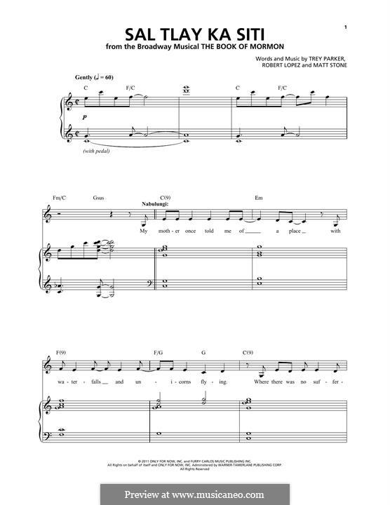 Sal Tlay Ka Siti (from The Book of Mormon): Für Stimme und Klavier by Robert Lopez, Trey Parker, Matt Stone