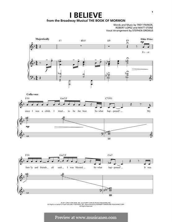 I Believe (from The Book of Mormon): Für Stimme und Klavier by Robert Lopez, Trey Parker, Matt Stone