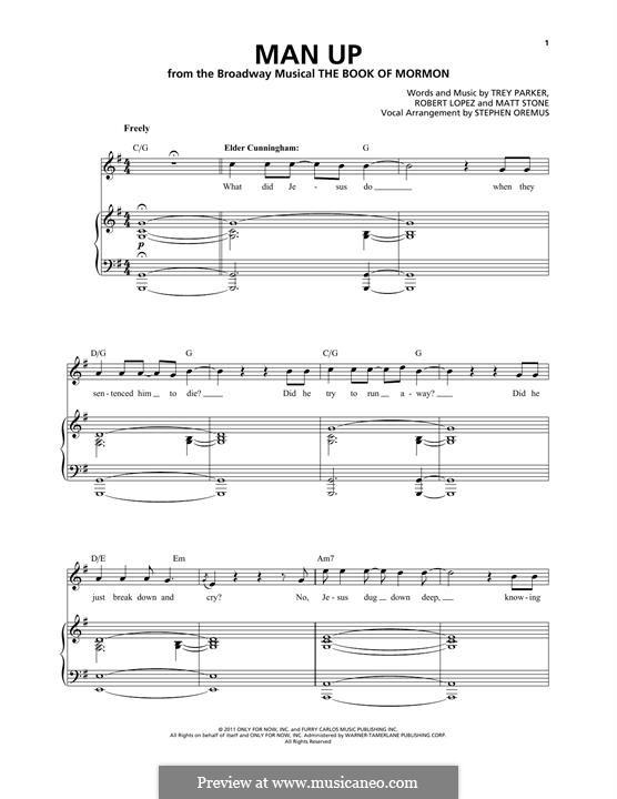 Man Up (from The Book of Mormon): Für Stimme und Klavier by Robert Lopez, Trey Parker, Matt Stone