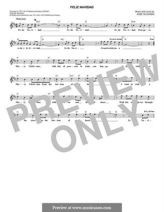 Feliz Navidad: Melodische Linie by José Feliciano