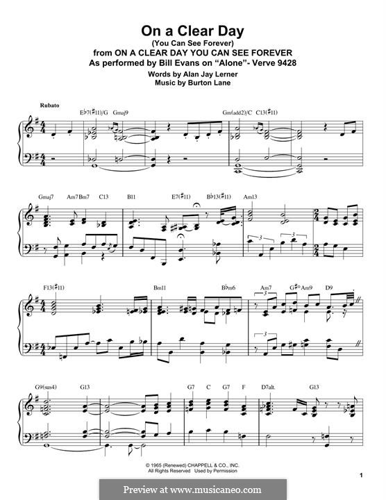 On a Clear Day (You Can See Forever): Für Klavier by Burton Lane