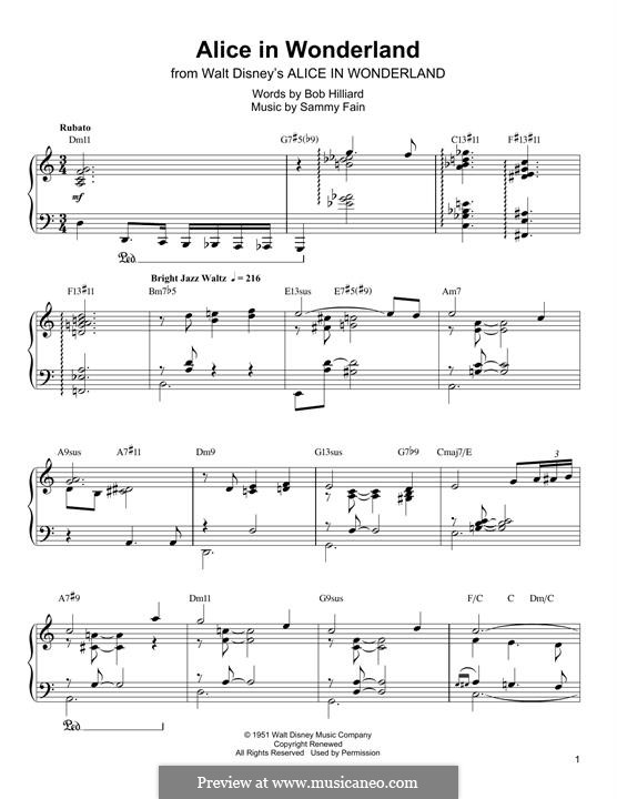 Alice in Wonderland (Bill Evans): For piano (Oscar Peterson) by Bob Hilliard, Sammy Fain