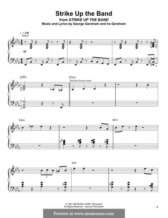 Strike Up the Band: For piano (Oscar Peterson) by George Gershwin