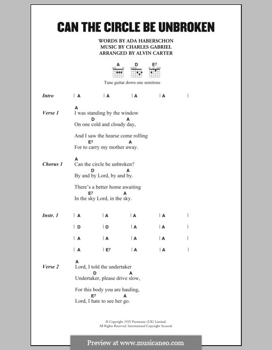 Can the Circle Be Unbroken (By and By): Lyrics and chords (The Carter Family) by Charles Hutchinson Gabriel