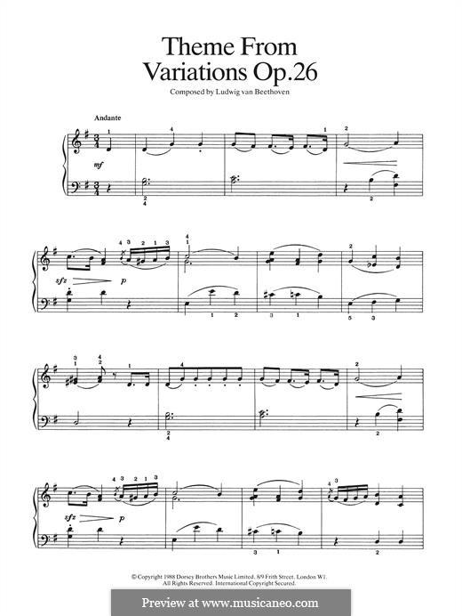 Sonate für Klavier Nr.12 in As-Dur, Op.26: Theme from Variations by Ludwig van Beethoven