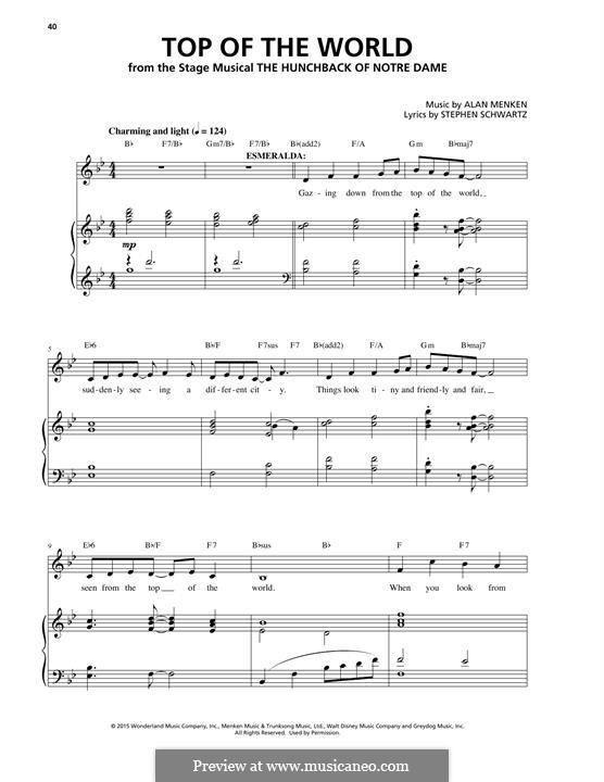 Top of the World: Für Stimme und Klavier by Alan Menken