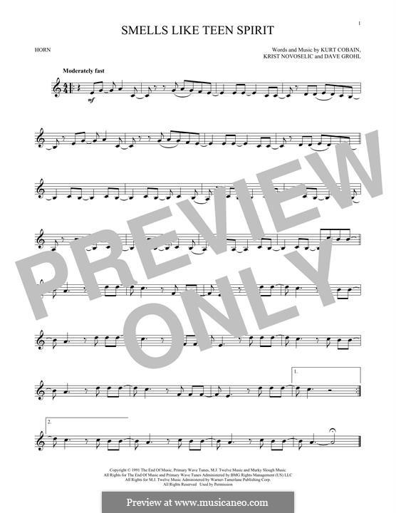 Smells Like Teen Spirit (Nirvana): For horn by David Grohl, Krist Novoselic, Kurt Cobain