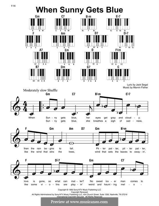 When Sunny Gets Blue (Frank Sinatra): Für Klavier by Marvin Fisher