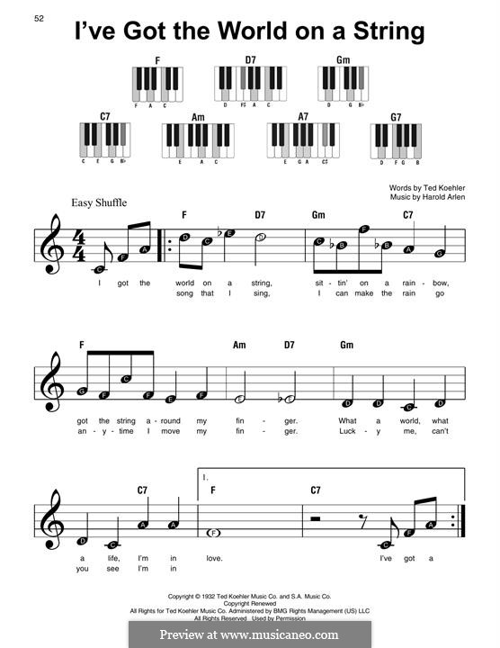 I've Got the World on a String: Für Klavier by Harold Arlen