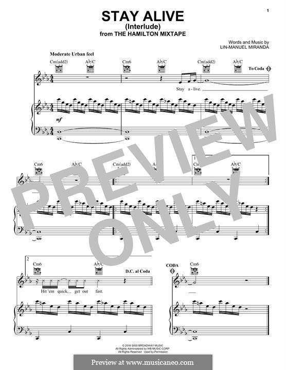 Stay Alive (Interlude): Für Stimme und Klavier (oder Gitarre) by Lin-Manuel Miranda