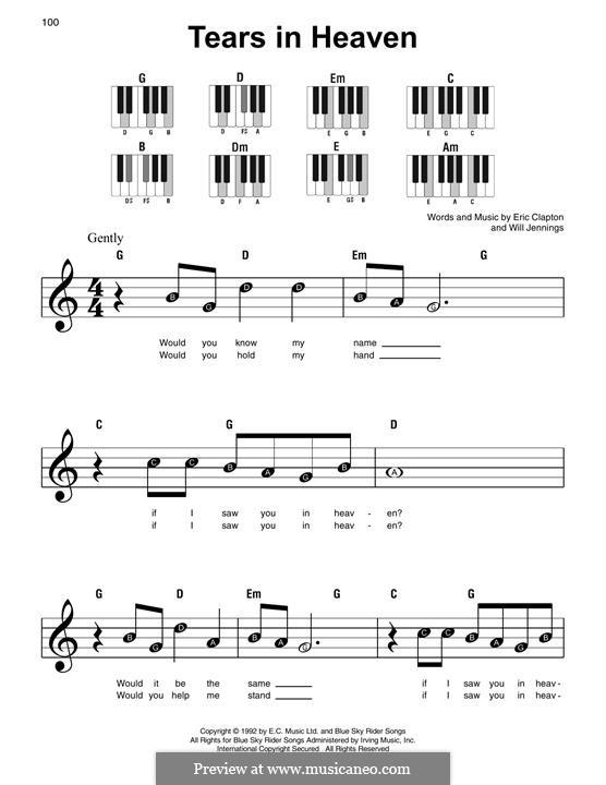 Tears in Heaven: Für Klavier, leicht by Eric Clapton, Will Jennings