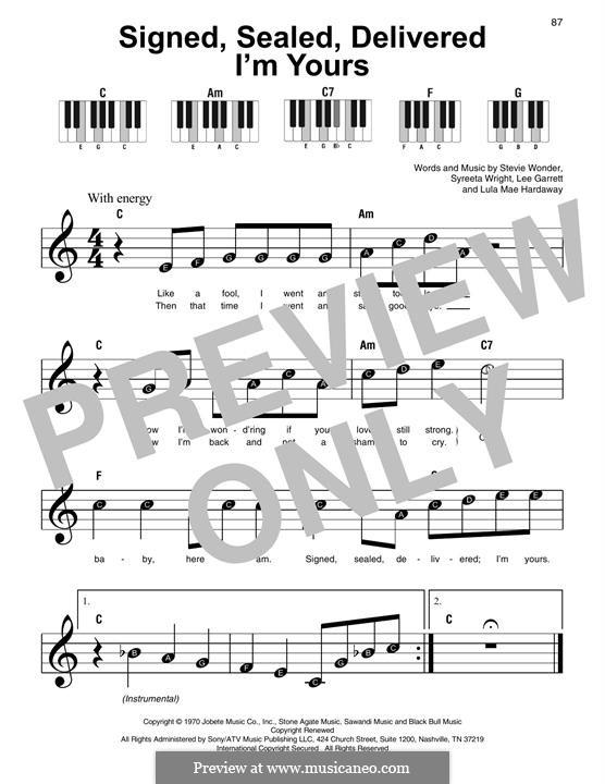 Signed, Sealed, Delivered (Blue feat. Stevie Wonder): Für Klavier, leicht by Lee Garrett, Lula Mae Hardaway, Stevie Wonder, Syreeta Wright