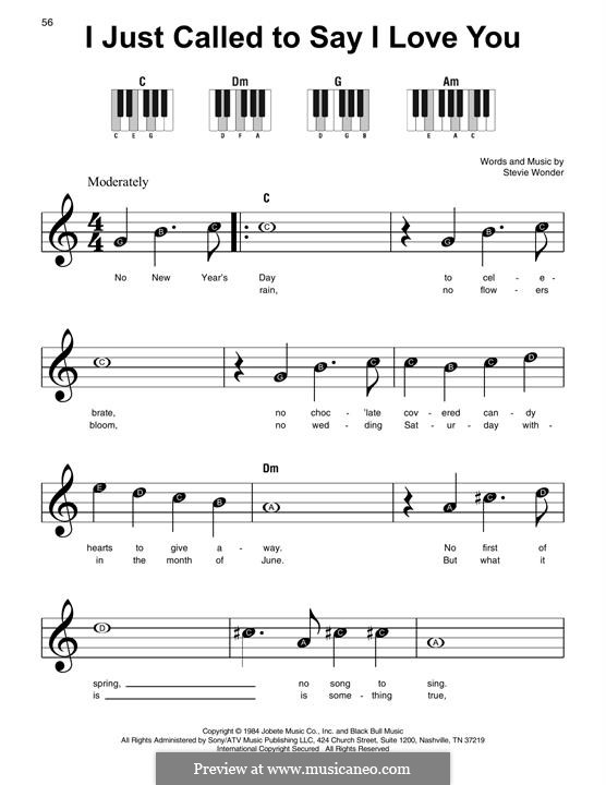 I Just Called to Say I Love You: Für Klavier, leicht by Stevie Wonder
