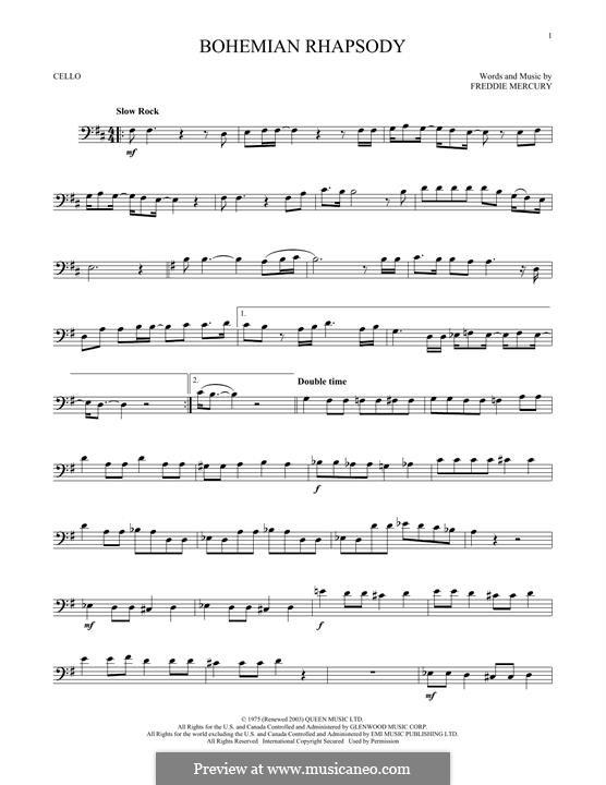 Bohemian Rhapsody (Queen): Für Cello by Freddie Mercury