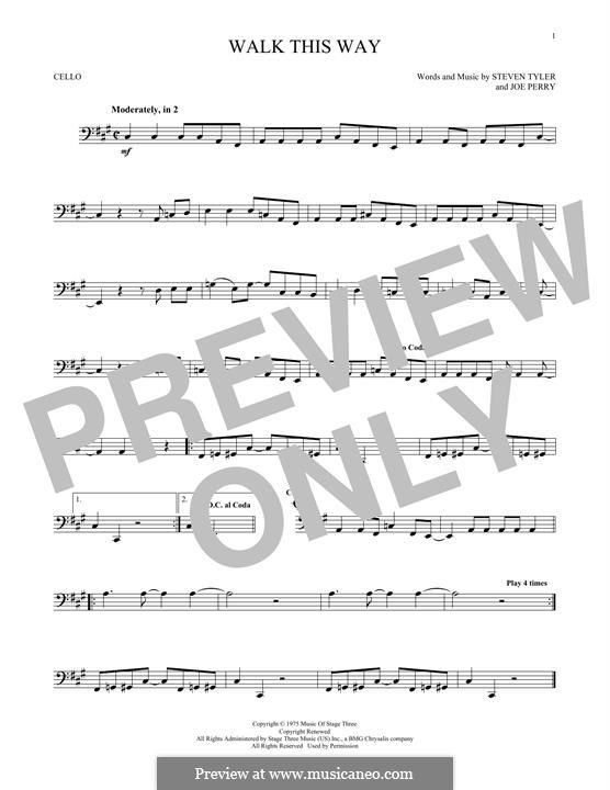 Walk This Way (Aerosmith and Run D.M.C.): Für Cello by Joe Perry, Steven Tyler