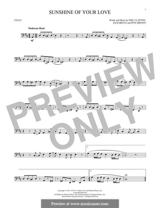 Sunshine of Your Love (Cream): Für Cello by Eric Clapton, Jack Bruce, Pete Brown