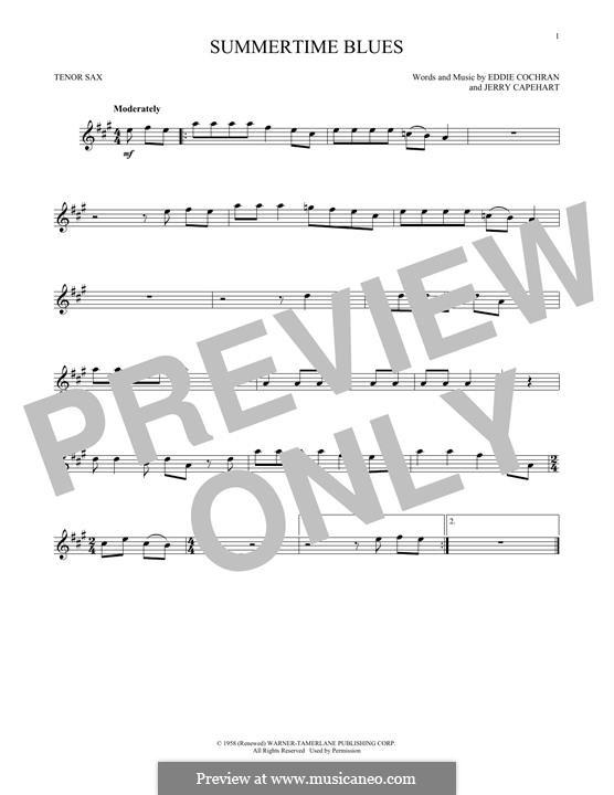 Summertime Blues: Für Tenorsaxophon by Jerry Capehart