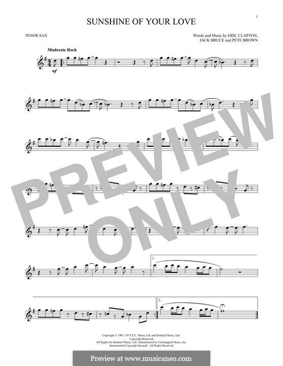 Sunshine of Your Love (Cream): Für Tenorsaxophon by Eric Clapton, Jack Bruce, Pete Brown