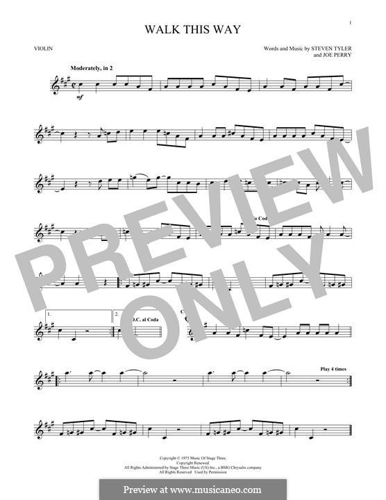 Walk This Way (Aerosmith and Run D.M.C.): Für Violine by Joe Perry, Steven Tyler