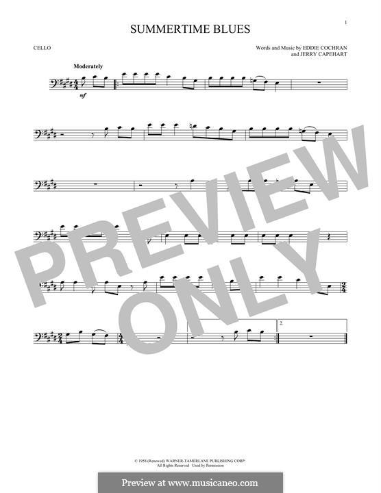 Summertime Blues: Für Cello by Jerry Capehart