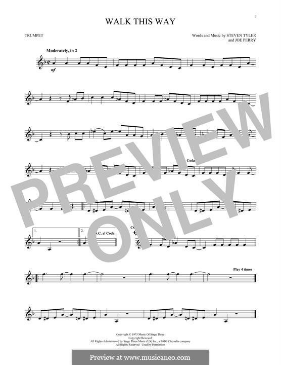 Walk This Way (Aerosmith and Run D.M.C.): Für Trompete by Joe Perry, Steven Tyler