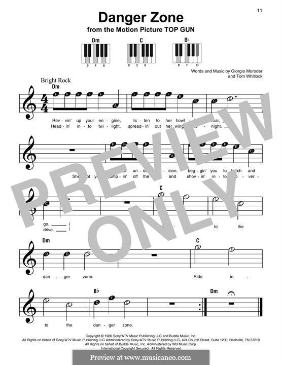 Danger Zone (from Top Gun): Für Klavier, leicht by Giorgio Moroder, Tom Whitlock