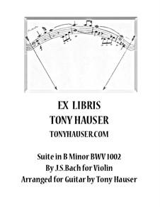 Partita für Violine Nr.1 in h-Moll, BWV 1002: Bearbeitung für Gitarre by Johann Sebastian Bach