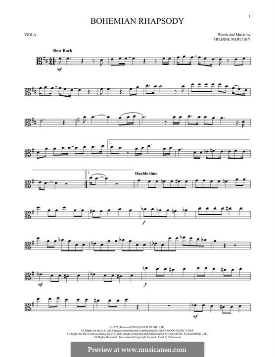 Bohemian Rhapsody (Queen): For viola by Freddie Mercury