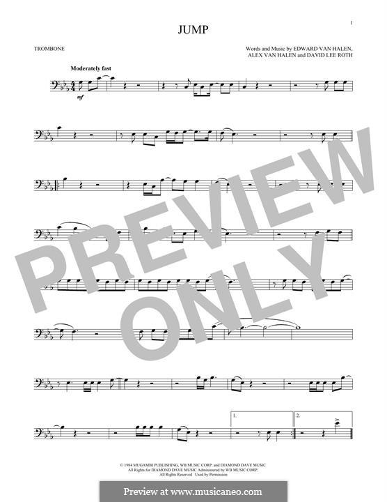 Jump (Van Halen): For trombone by Alex Van Halen, David Lee Roth, Edward Van Halen, Michael Anthony