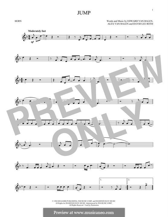 Jump (Van Halen): For horn by Alex Van Halen, David Lee Roth, Edward Van Halen, Michael Anthony