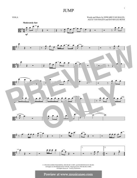 Jump (Van Halen): For viola by Alex Van Halen, David Lee Roth, Edward Van Halen, Michael Anthony
