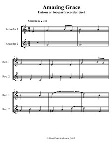 Erstaunliche Gnade: For recorder solo, unison or 2 part by folklore