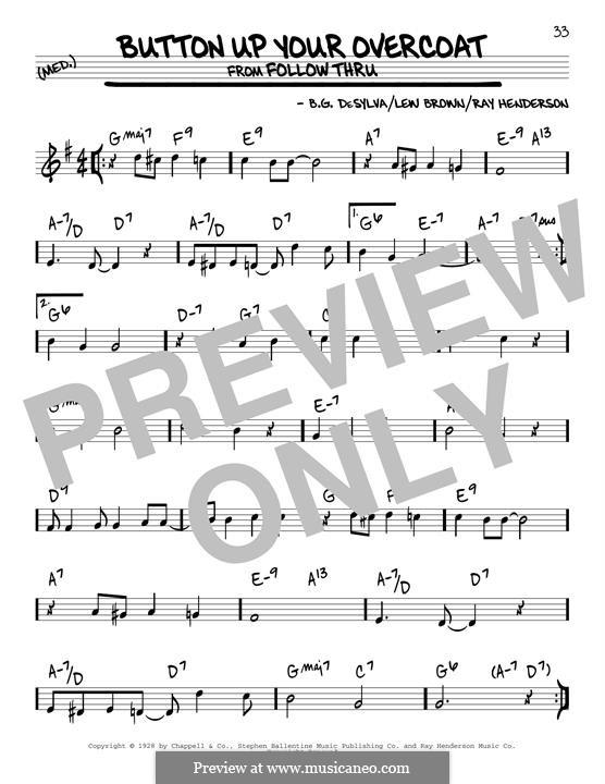Button Up Your Overcoat (Ruth Etting): Für Gitarre by Buddy Gard DeSylva, Ray Henderson, Lew Brown