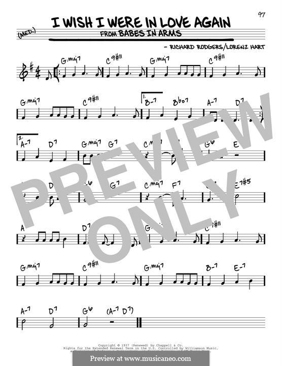 I Wish I Were in Love Again: Für Gitarre by Richard Rodgers