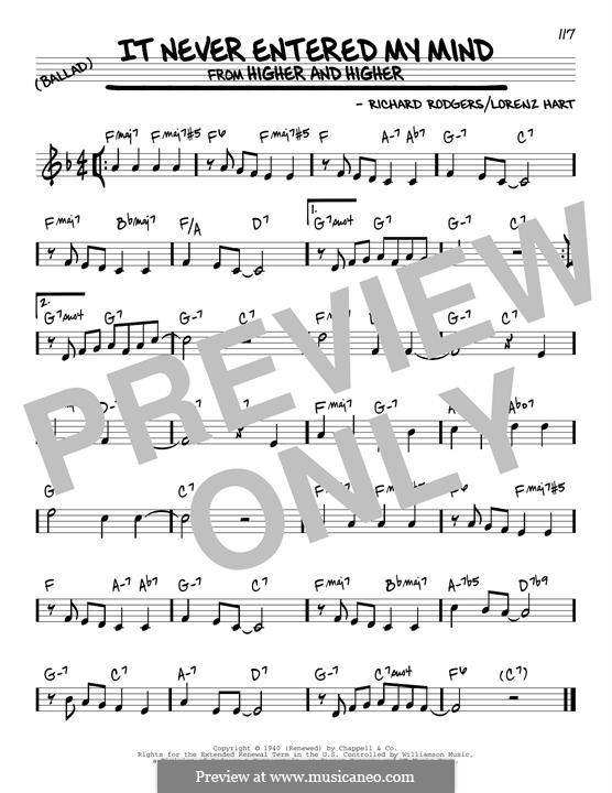 It Never Entered My Mind: Für Gitarre by Richard Rodgers